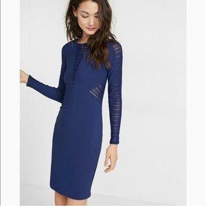 Express Bodycon Dress Long Sleeve Blue size 0 NWT